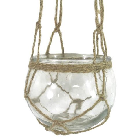 Clear Glass Hanging Macrame Candle Holder